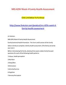 NRS 429V Week 4 Family Health Assessment