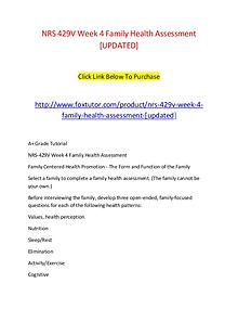 NRS 429V Week 4 Family Health Assessment [UPDATED]