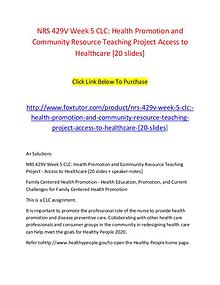 NRS 429V Week 5 CLC Health Promotion and Community Resource Teaching