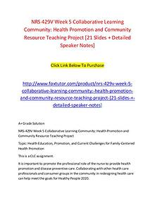NRS 429V Week 5 Collaborative Learning Community Health Promotion and
