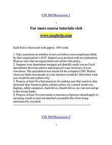 CIS  560 help Making Decisions/uophelp.com