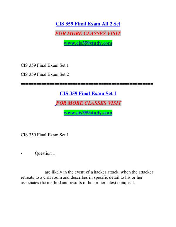 CIS 359 STUDY Great Stories/cis359study.com CIS 359 STUDY Great Stories/cis359study.com