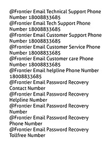 Frontier Email Technical Support 18008833685 Customer Service Reset