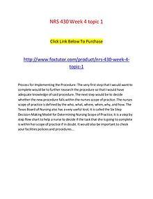 NRS 430 Week 4 topic 1