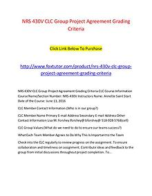 NRS 430V CLC Group Project Agreement Grading Criteria