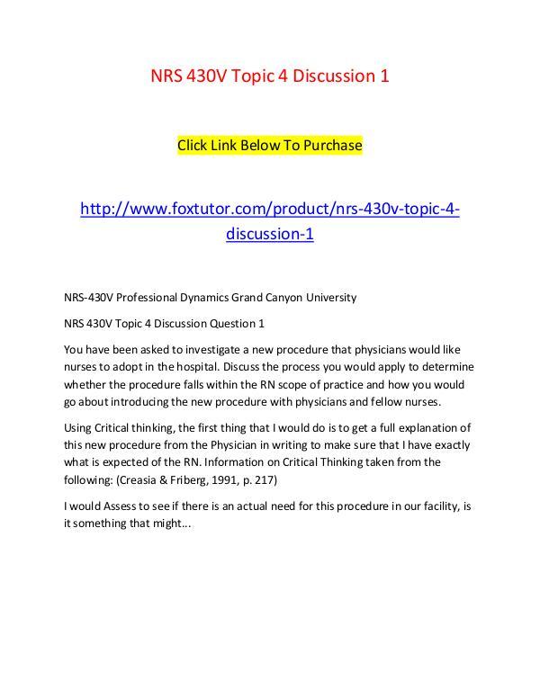 NRS 430V Topic 4 Discussion 1 NRS 430V Topic 4 Discussion 1