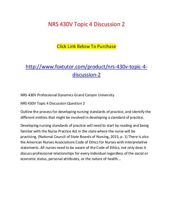 NRS 430V Topic 4 Discussion 2 NRS 430V Topic 4 Discussion 2