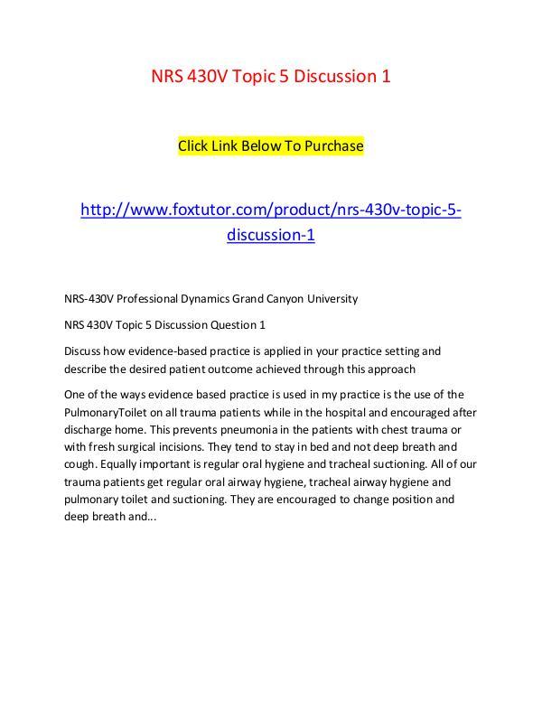 NRS 430V Topic 5 Discussion 1 NRS 430V Topic 5 Discussion 1