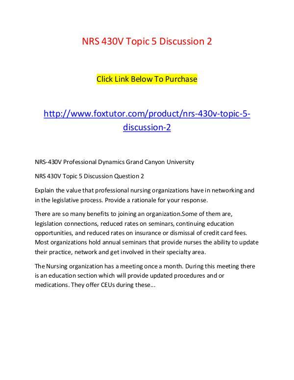 NRS 430V Topic 5 Discussion 2 NRS 430V Topic 5 Discussion 2