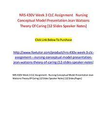 NRS 430V Week 3 CLC Assignment   Nursing Conceptual Model Presentatio