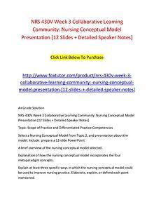 NRS 430V Week 3 Collaborative Learning Community Nursing Conceptual M