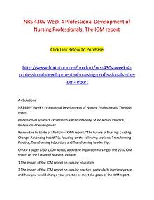 NRS 430V Week 4 Professional Development of Nursing Professionals The
