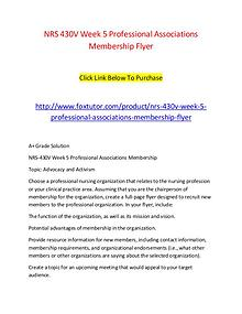 NRS 430V Week 5 Professional Associations Membership Flyer