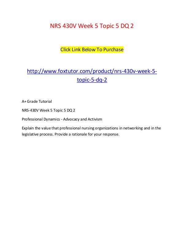 NRS 430V Week 5 Topic 5 DQ 2 NRS 430V Week 5 Topic 5 DQ 2