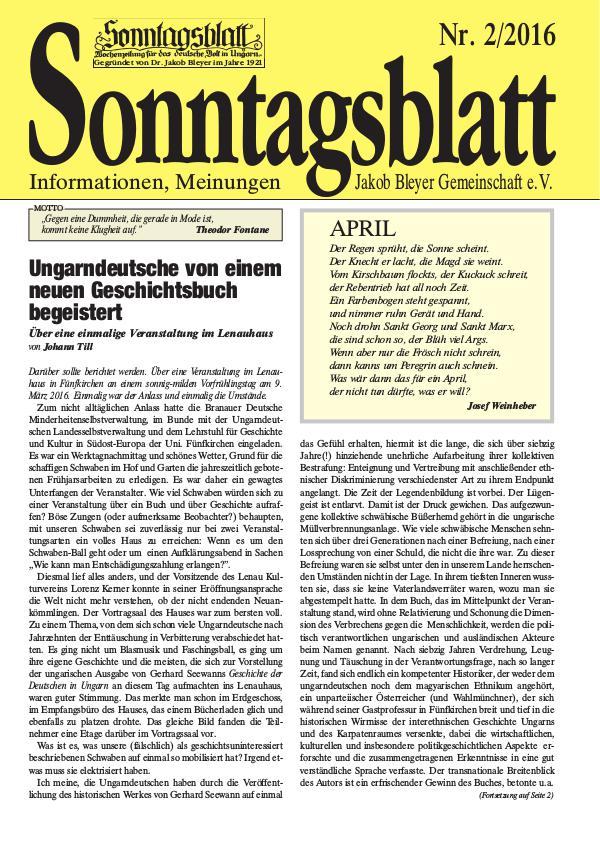 Sonntagsblatt 2/2016
