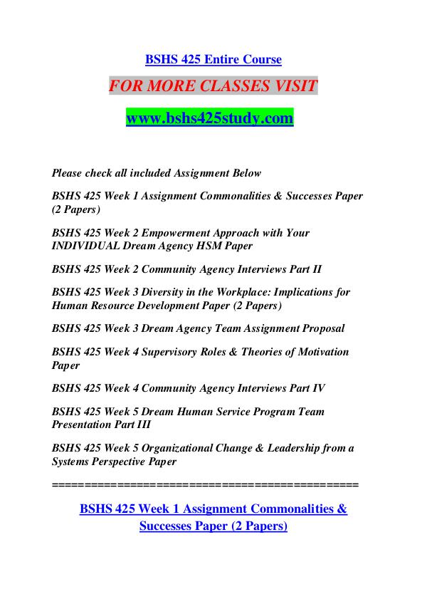BSHS 425 STUDY Keep Learning /bshs425study.com BSHS 425 STUDY Keep Learning /bshs425study.com