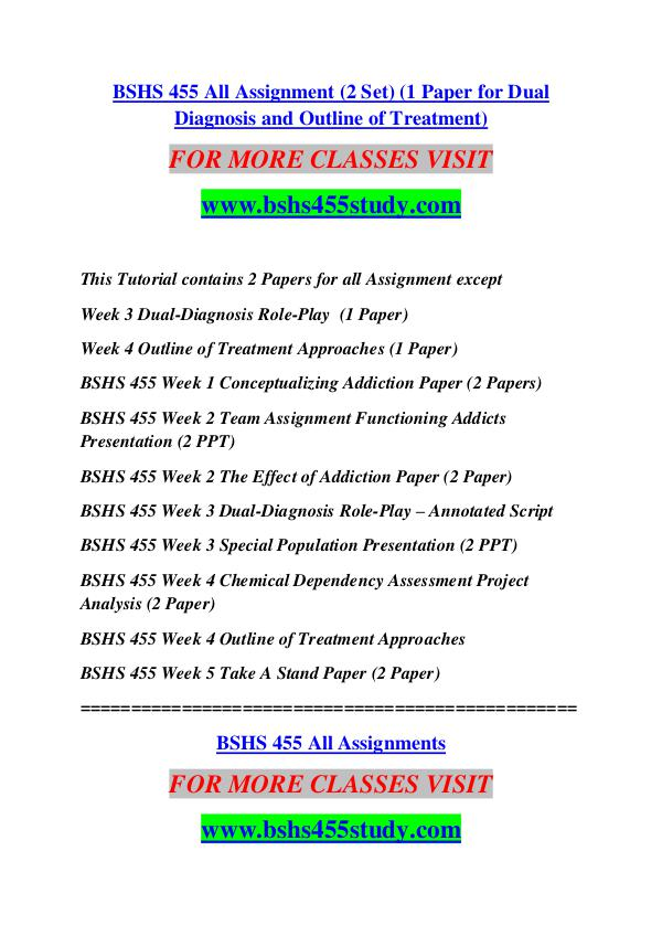 BSHS 455 STUDY Keep Learning /bshs455study.com BSHS 455 STUDY Keep Learning /bshs455study.com