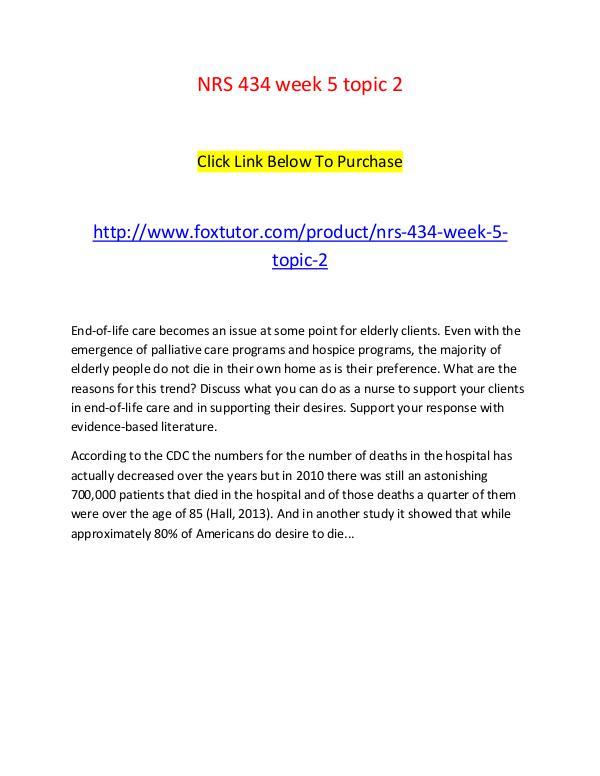 NRS 434 week 5 topic 2 NRS 434 week 5 topic 2