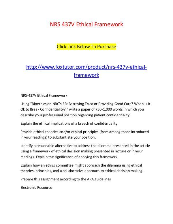 NRS 437V Ethical Framework NRS 437V Ethical Framework
