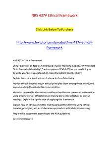 NRS 437V Ethical Framework
