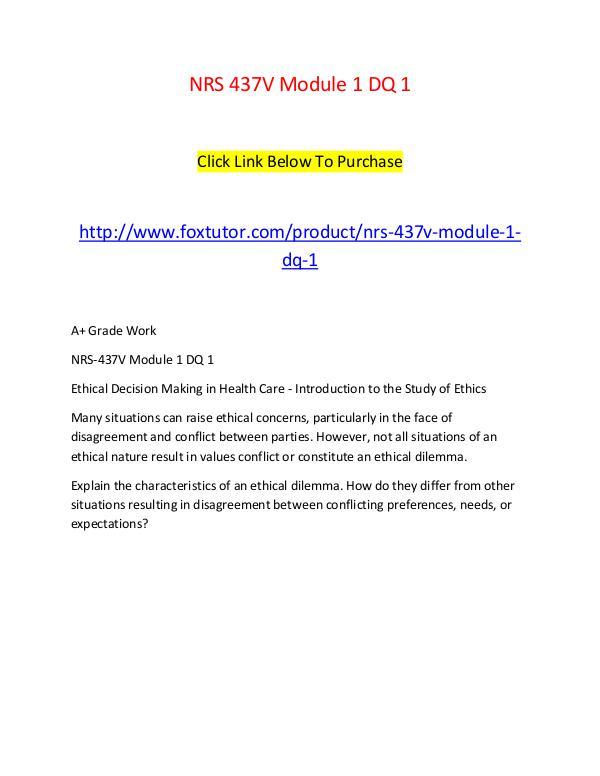 NRS 437V Module 1 DQ 1 NRS 437V Module 1 DQ 1