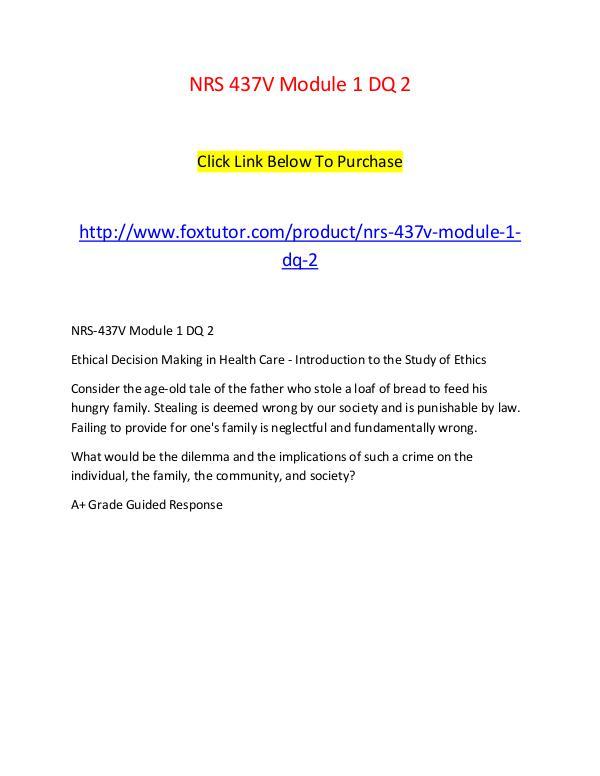 NRS 437V Module 1 DQ 2 NRS 437V Module 1 DQ 2