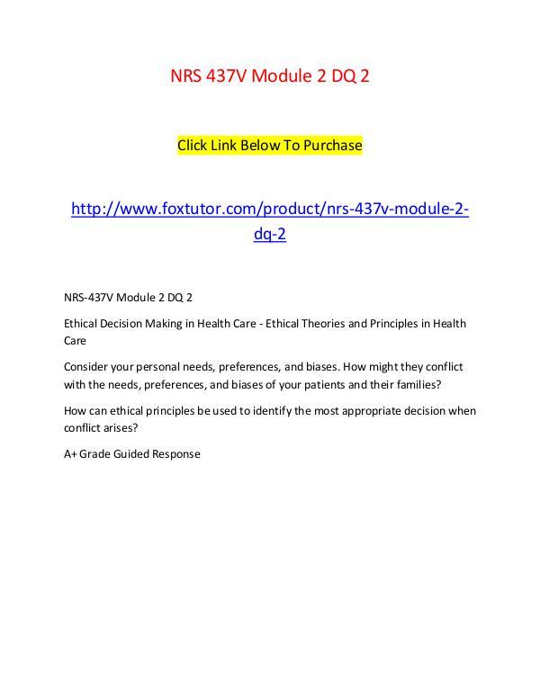 NRS 437V Module 2 DQ 2 NRS 437V Module 2 DQ 2