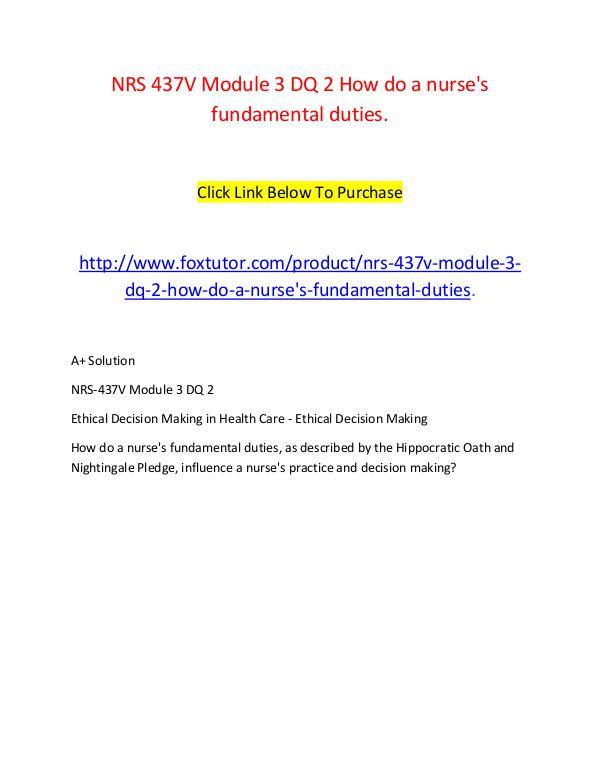 NRS 437V Module 3 DQ 2 How do a nurse's fundamental duties. NRS 437V Module 3 DQ 2 How do a nurse's fundamenta