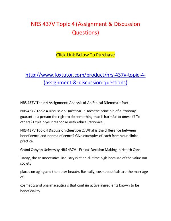 NRS 437V Topic 4 (Assignment & Discussion Questions) NRS 437V Topic