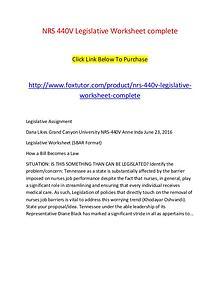 NRS 440V Legislative Worksheet complete