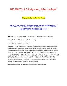 NRS 440V Topic 3 Assignment; Reflection Paper