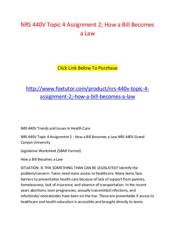 NRS 440V Topic 4 Assignment 2; How a Bill Becomes a Law NRS 440V ...