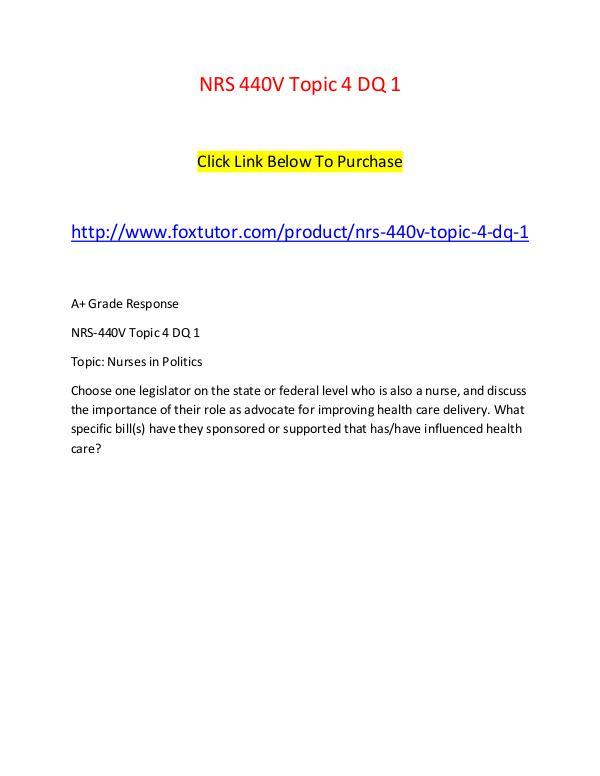 NRS 440V Topic 4 DQ 1 NRS 440V Topic 4 DQ 1