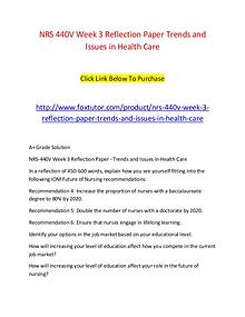 NRS 440V Week 3 Reflection Paper Trends and Issues in Health Care