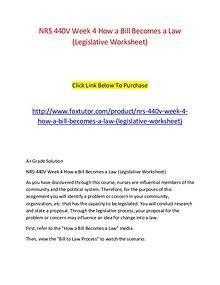 NRS 440V Week 4 How a Bill Becomes a Law (Legislative Worksheet)