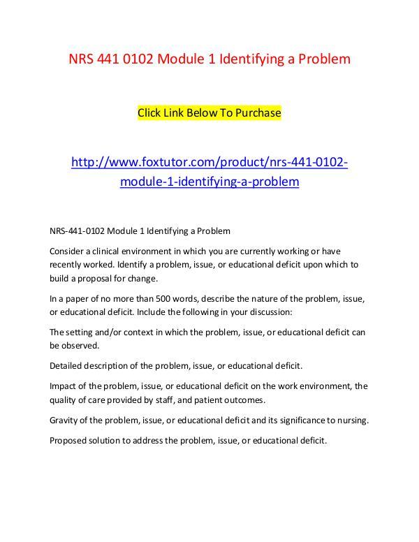 NRS 441 0102 Module 1 Identifying a Problem NRS 441 0102 Module 1 Identifying a Problem