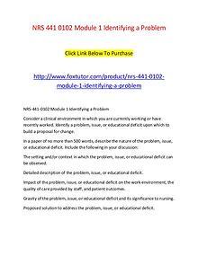 NRS 441 0102 Module 1 Identifying a Problem
