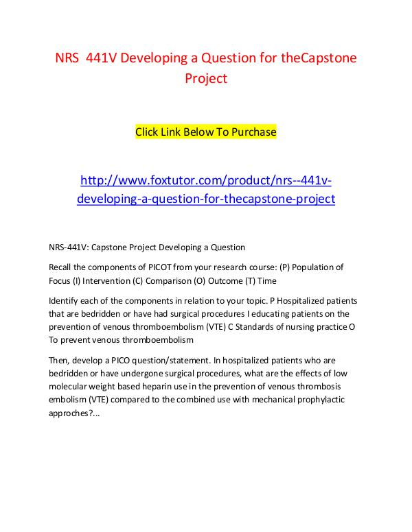 NRS  441V Developing a Question for theCapstone Project NRS  441V Developing a Question for theCapstone Pr