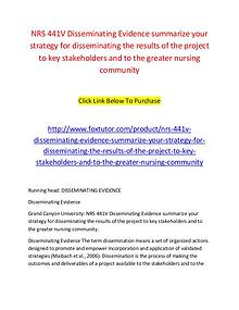NRS 441V Disseminating Evidence summarize your strategy for dissemina