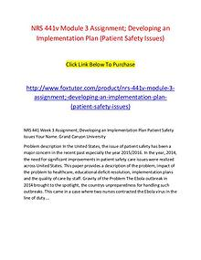 NRS 441v Module 3 Assignment; Developing an Implementation Plan (Pati