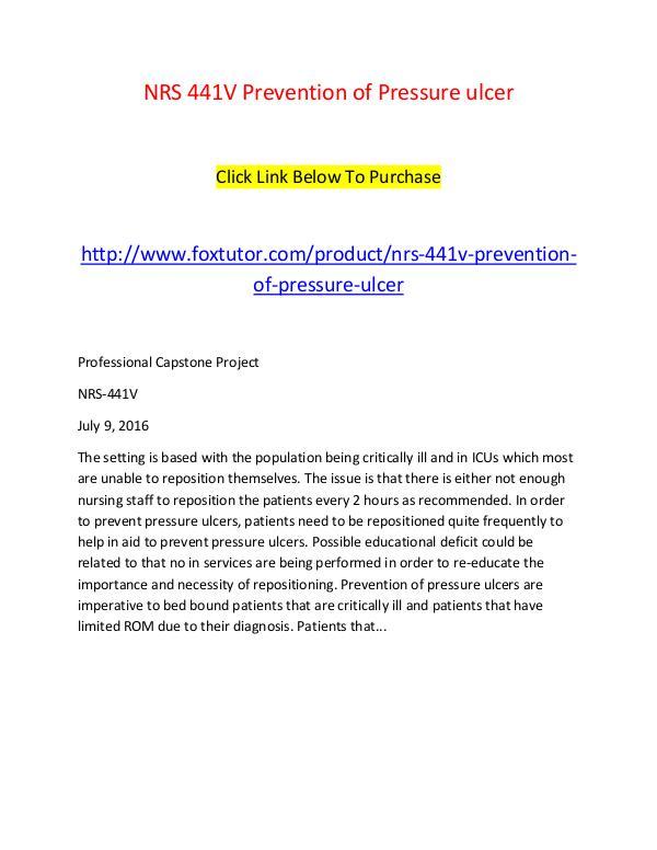 NRS 441V Prevention of Pressure ulcer NRS 441V Prevention of Pressure ulcer