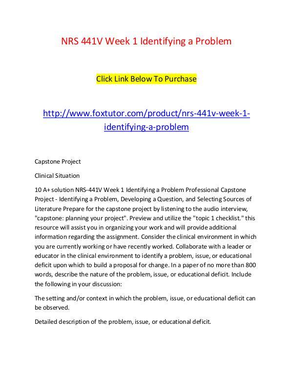 NRS 441V Week 1 Identifying a Problem NRS 441V Week 1 Identifying a Problem