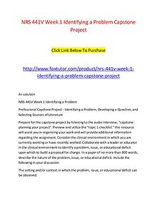 NRS 441V Week 1 Identifying a Problem Capstone Project