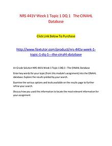 NRS 441V Week 1 Topic 1 DQ 1   The CINAHL Database