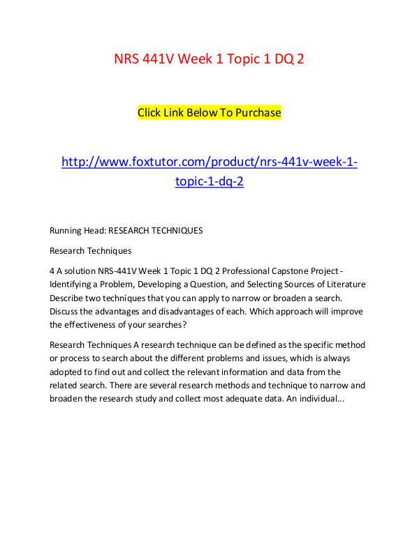 NRS 441V Week 1 Topic 1 DQ 2 NRS 441V Week 1 Topic 1 DQ 2