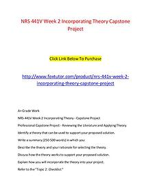 NRS 441V Week 2 Incorporating Theory Capstone Project (2)