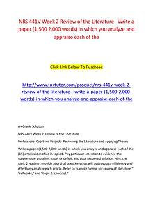 NRS 441V Week 2 Review of the Literature   Write a paper (1,500 2,000