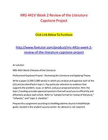 NRS 441V Week 2 Review of the Literature Capstone Project