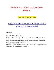 NRS 441V WEEK 2 TOPIC 2 DQ 1 CRITICAL APPRAISAL