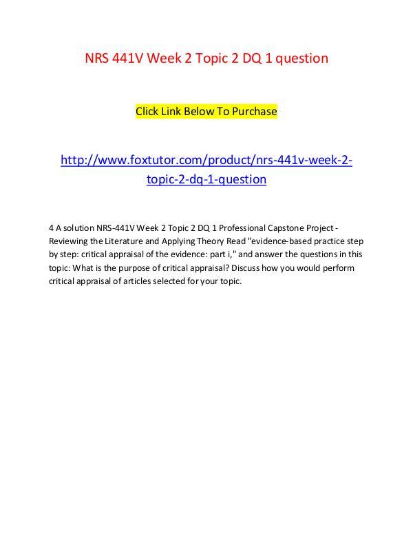 NRS 441V Week 2 Topic 2 DQ 1 question NRS 441V Week 2 Topic 2 DQ 1 question